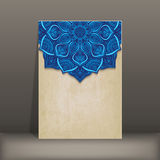 Grunge paper card with blue floral circular Royalty Free Stock Image