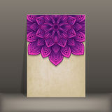 Grunge paper card with purple floral circular Stock Photos
