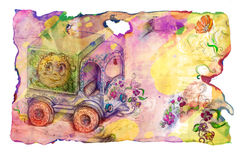 Grunge paper with child's truck and flowers Royalty Free Stock Photos