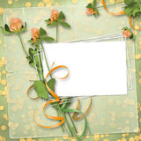 Grunge paper for congratulation. With bunch of clover Royalty Free Stock Image