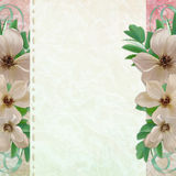 Grunge Paper Design For Information With Flowers Royalty Free Stock Image