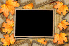 Grunge paper design in scrapbooking style with photoframe. And autumn foliage royalty free stock images