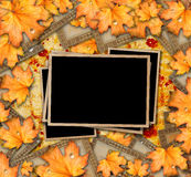 Grunge paper design in scrapbooking style with photoframe Stock Images