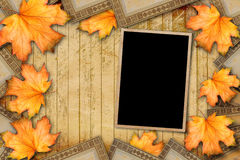 Grunge paper design in scrapbooking style with photoframe Royalty Free Stock Photos