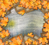 Grunge paper design in scrapbooking style with photoframe. And autumn foliage stock photography
