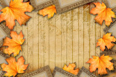 Grunge paper design in scrapbooking style with photoframe Stock Photos