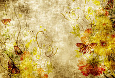 Grunge paper with floral patterns. Royalty Free Stock Image