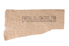 Grunge paper with fragil text Royalty Free Stock Images