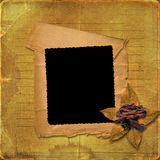 Grunge paper frame with drawing-pin Stock Photography