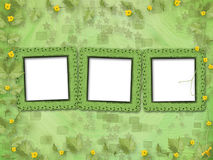 Grunge paper frames with flowers pumpkins Stock Images