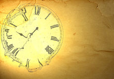 Grunge paper with liquefied clock Stock Photos