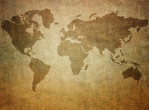 Grunge paper with map background Stock Images