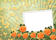 Grunge paper with painting rose Royalty Free Stock Image