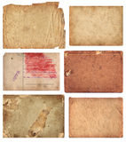 Grunge Paper Pieces. Set of aged paper pieces. Comes on white background, isolated with clipping path stock image