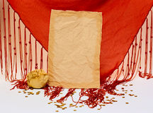 Grunge paper and red fabric Stock Images