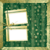 Grunge paper in scrapbooking style. With frame and bow Stock Images
