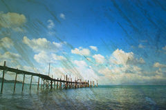 Grunge paper and sea landscape view for background Royalty Free Stock Images