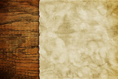 Grunge paper sheet on wooden wall or table in loft style Stock Image