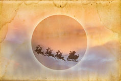 Grunge paper texture with santa. In the full moon Royalty Free Illustration
