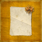 Grunge paper wiht bow Stock Image