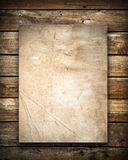 Grunge paper on wood wall texture Royalty Free Stock Image
