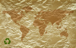 Grunge paper with world map Royalty Free Stock Photos