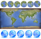 Grunge paper world map with earth globes Stock Photo