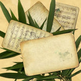 Grunge papers for design with bamboo leaves.  Stock Photo