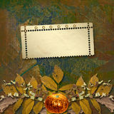 Grunge papers design with frame and autumn Stock Image