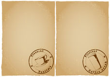 Grunge papers form menu for tea, coffee Stock Photography