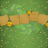 Grunge papers with frame and bunch Royalty Free Stock Images
