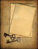 Grunge papers and keys Stock Images