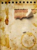 Grunge Papier mit Kaffeemarkierungen Stockfotos