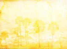 Grunge Papier und Ansicht plam Baum Stockbilder
