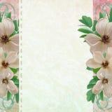 Grunge Papierauslegung zu Information mit Blumen Lizenzfreies Stockbild