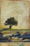 Grunge papierowy tło z drzewem Obraz Royalty Free