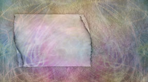 Grunge Parchment Message Board banner. Parchment effect message board with muted colours split into two areas Stock Image