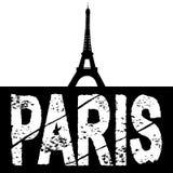 Grunge Paris text eiffel tower Stock Image