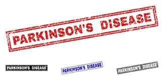 Grunge PARKINSON`S DISEASE Scratched Rectangle Stamp Seals. Grunge PARKINSON`S DISEASE rectangle stamp seals isolated on a white background. Rectangular seals royalty free illustration
