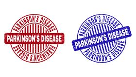 Grunge PARKINSON`S DISEASE Textured Round Stamp Seals. Grunge PARKINSON`S DISEASE round stamp seals isolated on a white background. Round seals with grunge vector illustration
