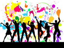 Grunge party. Silhouettes of people dancing on a grunge background Stock Image