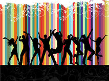 Grunge party. Silhouettes of people dancing on a floral grunge background Royalty Free Stock Photos
