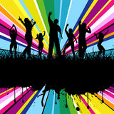 Grunge party. Silhouettes of people dancing on colourful grunge background Royalty Free Stock Photos