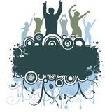 Grunge party. Silhouettes of people dancing on grunge style background Stock Photography