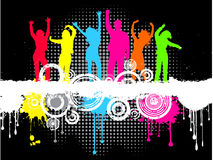 Grunge party. Silhouettes of people dancing on grunge background Royalty Free Stock Image