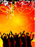 Grunge party. Silhouettes of people dancing on decorative grunge background Stock Images