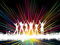 Grunge party. Silhouettes of people dancing on grunge style background Royalty Free Stock Photography