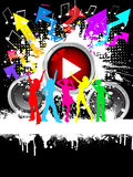 Grunge party. Silhouettes of females dancing on grunge music background Royalty Free Stock Photos