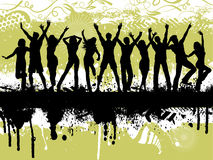 Grunge party. Silhouettes of people dancing on grunge background Stock Photography