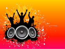 Grunge party background. Abstract grunge music background with people dancing stock illustration